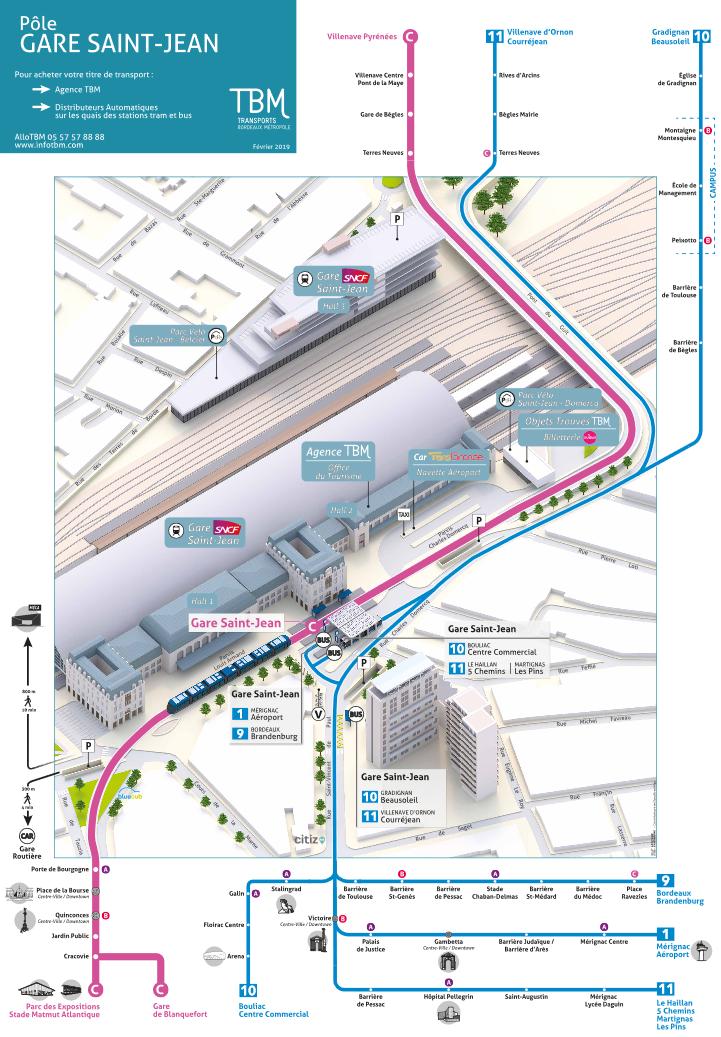 Carte Bordeaux Transport En Commun.Transports En Commun Et Navettes Tbm Gare Saint Jean Bordeaux